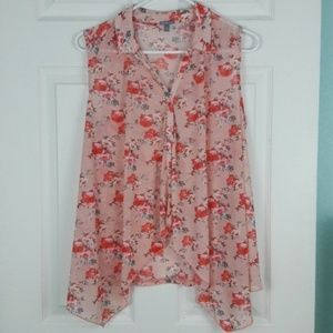 Charlotte Russe Sheer Floral Button Front Tank Top